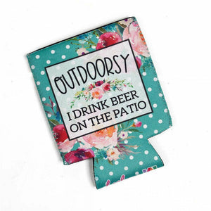 Outdoorsy I Drink Beer on the Patio Can Cooler-Stella's Shabby Boutique