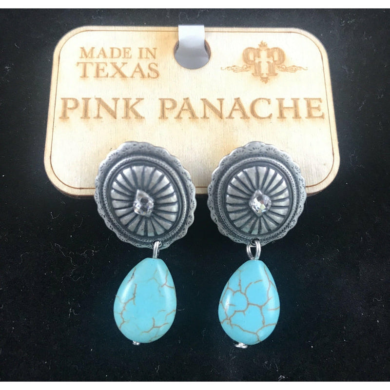 Pink Panache Turquoise Dangle Earrings - Stella's Shabby Boutique