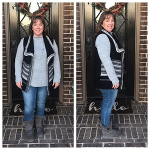 Waterfall Style Black & White Vest - Stella's Shabby Boutique