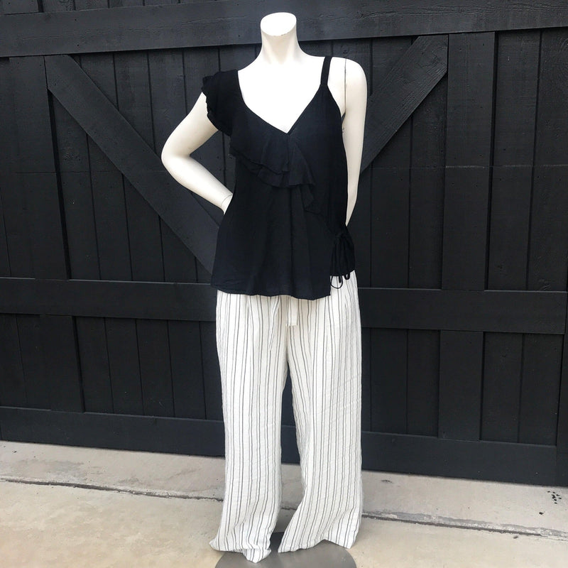White-Black Waist Tie Striped Pants-Stella's Shabby Boutique