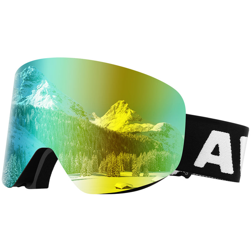 Dual Layer Cylindrical Lens Anti-Fog Detachable OTG Ski Goggles - Awenia