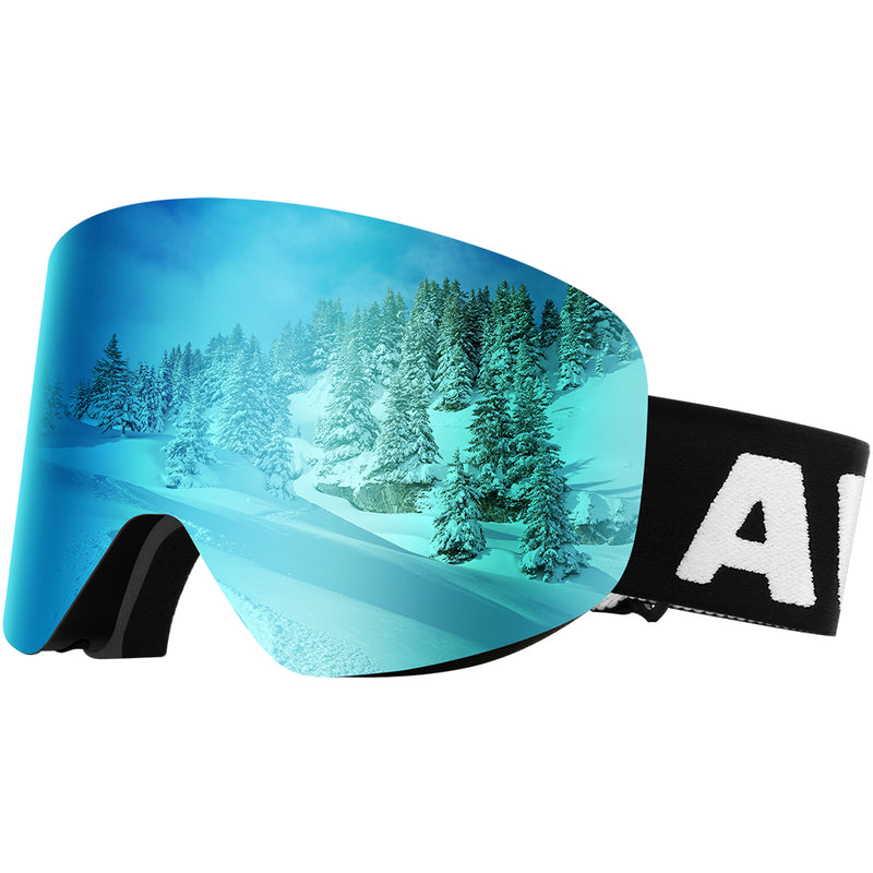 Dual Layer Cylindrical Lens Anti-Fog Detachable OTG Ski Goggles