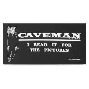 "CAVEMAN ""I Read It for the Pictures"" Sticker (Retro Art)"