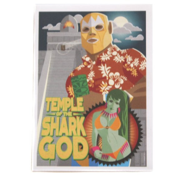 Temple of the Shark God Sticker - Forgus Art (Tiki, Luchador, Pinup)