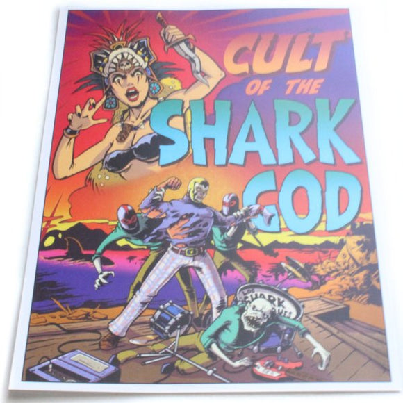 Cult of the Shark God 5x7 Mini-Poster - Maginnis Art (Tiki, Luchador, Monsters)