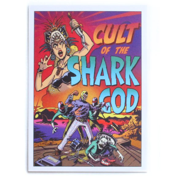 Cult of the Shark God Sticker - Maginnis Art (Tiki, Luchador, Monsters)