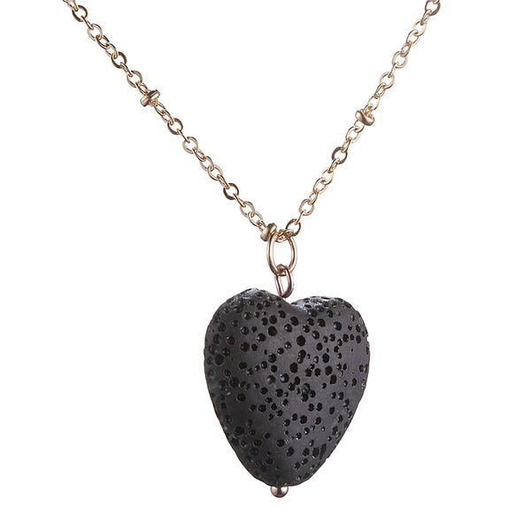 Black Lava Rock Heart