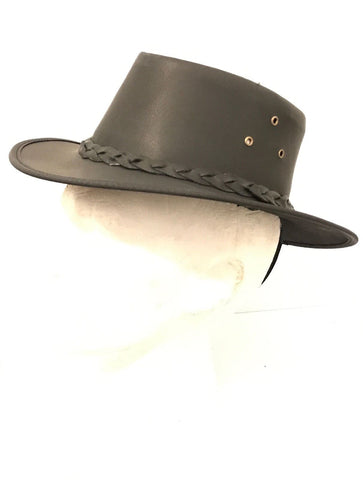 Kids Childrens Australian Aussie Black Leather Bush Hat Cowboy Hat One Size - Lesa Collection