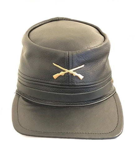Black Civil War Cap 100% Genuine Leather Adjustable - Lesa Collection