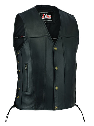Mens Real Leather Biker Style Waistcoat Black Genuine Leather Motorcycle Vest - Lesa Collection