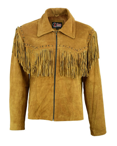 Mens New Native American Western Brown Suede Leather Jacket Fringe Tassels - Lesa Collection