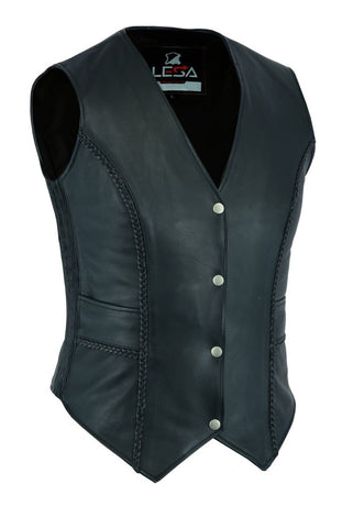 New Womens ladies Genuine Real Leather Braided Black Waistcoat Gillette Vest - Lesa Collection