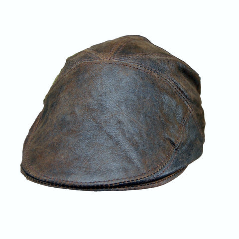 Real Leather Ivy Cap Distressed Leather Gatsby Newsboy Brown Flat Cap/ - Lesa Collection