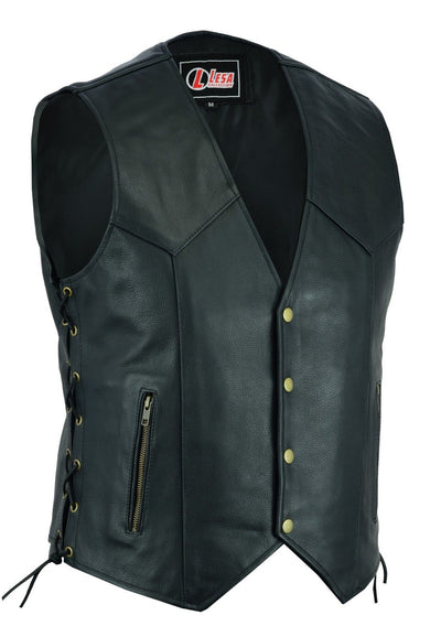 Mens Real Leather Motorcycle Waistcoat Biker Vest With Side Laces Real Choice - Lesa Collection