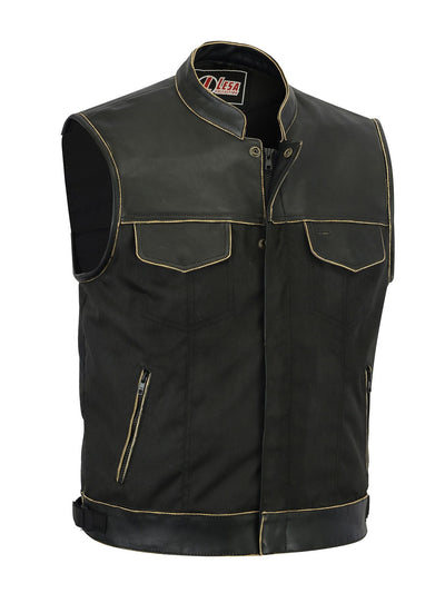 Mens Codura Biker Waistcoat Vest Brown Vintage Real Leather Trim - Lesa Collection