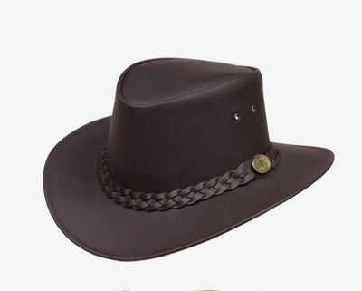 Kids Childrens Australian Aussie Brown Leather Bush Hat Cowboy Hat One Size - Lesa Collection
