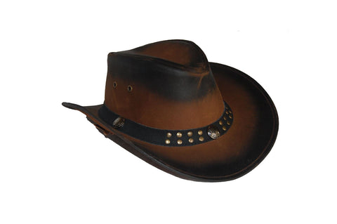 Leather Cowboy Bush Hat Western style Australian Style Hat - Lesa Collection