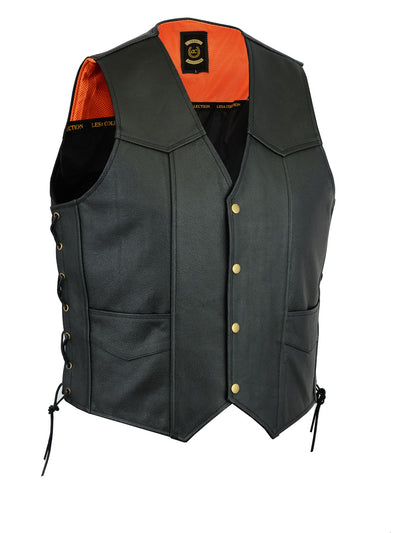 Leather Motorcycle Biker Style Waistcoat Vest Black Side Laced up - Lesa Collection