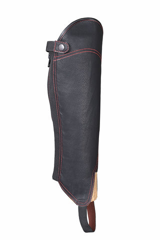 Black Synthetic Leather equestrian Lightweight Horse Rider chaps red stictched - Lesa Collection