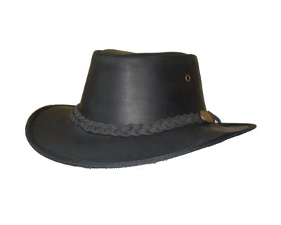 Full Grain Black Leather Bush Hat - Lesa Collection