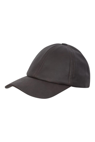 Mens Womens Baseball Cap Unisex Casual Plain Cap Brown Real Leather Hat - Lesa Collection