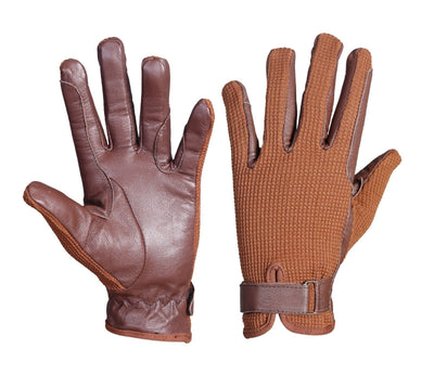 Light Brown Leather Palm Horse Riding and Driving Gloves with brown fabric - Lesa Collection