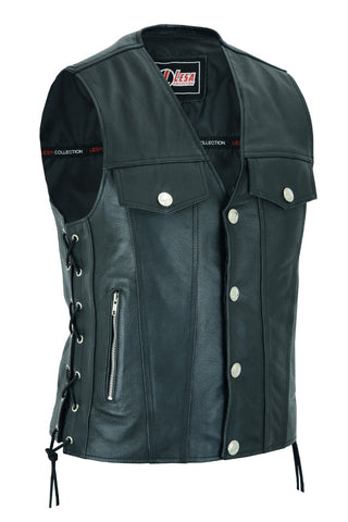Mens Real Leather Biker Style Waistcoat Motorcycle Side Laces Black Vest - Lesa Collection