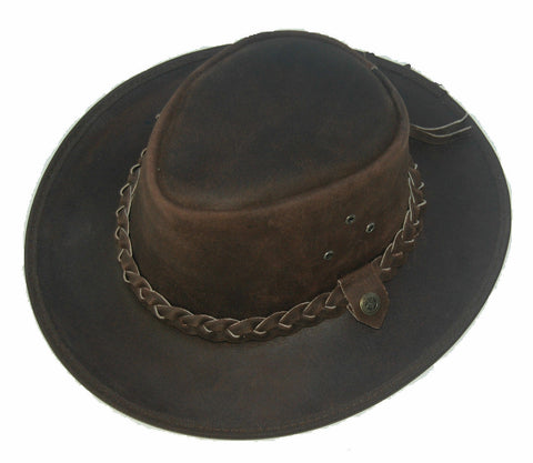 Kids Children's Brown Leather Bush Hat Cowboy Hat One Size 55cm Boy/Girl - Lesa Collection