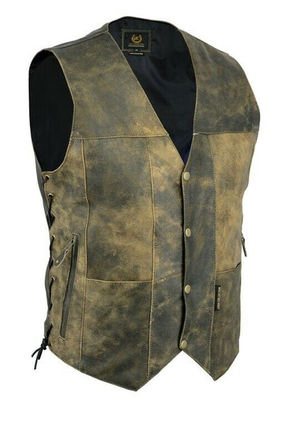 Vintage Motorcycle Vest 10 pocket Distressed Real Leather Waistcoat Mens - Lesa Collection