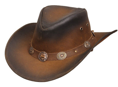 New Leather Cowboy Western Aussie Style Hat Conchos - Lesa Collection