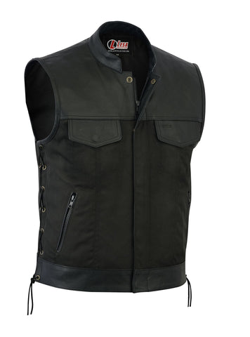 Mens Codura Biker Waistcoat Vest Black Real Leather Trim Side Laced Up - Lesa Collection