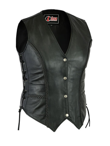 Ladies Real Leather Laced Up Motorcycle Biker Waistcoat Womens Gillette Vest - Lesa Collection