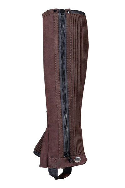 Brown Amara Suede Leather Equestrian Lightweight Horse Rider Half Chaps - Lesa Collection