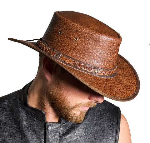 d797fc19933 Lesa Collection Distressed Leather Western Outback Australian Style Hat  Brown. Add to cart. No reviews. Add to wishlist