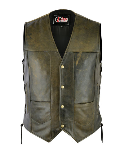 Mens Motorcycle 10 Pocket Distressed Brown Leather Vest Side Laces - Lesa Collection