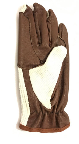 Light Brown Leather Palm Horse Riding and Driving Gloves with White Fabric - Lesa Collection