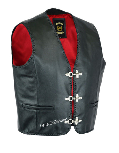 Mens Leather Waistcoat Biker Vest Braided With Fish Hook Buckles - Lesa Collection