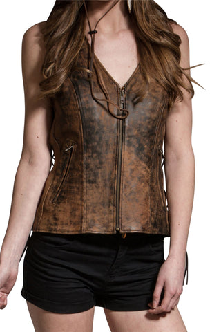 Women's Vintage Brown Dual Pocket Side Lace Real  Leather Zip Vest - Lesa Collection