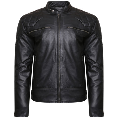 Mens  Black  Real Leather Jacket Biker Vintage Top grained - Lesa Collection