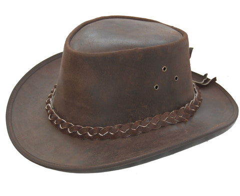 Kids Leather Cowboy Western Style Bush Hat Brown Boys or Girls - Lesa Collection