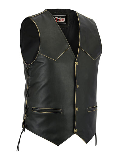 New Mens Leather Motorcycle Biker Vest Antique Side Laces Classic Style - Lesa Collection