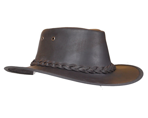Full Grain Dark Brown Leather Bush Hat - Lesa Collection