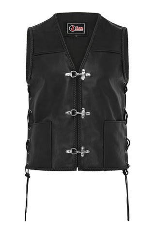 Mens Fish Hook Buckle Real Leather Waistcoat Biker Vest Braided With Sides Laces - Lesa Collection