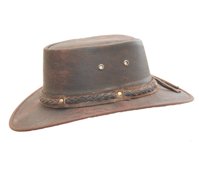 New Kids Real Distressed Leather Foldaway Australian Style Bush Hat Brown - Lesa Collection