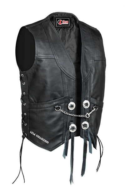Mens Real Leather Motorcycle Biker Waistcoat/Vest with Chain - Lesa Collection