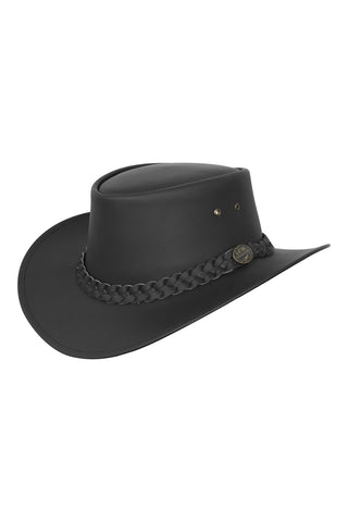 Australian Style Leather Bush Hat Cowboy Mens Womens Hat Black - Lesa Collection