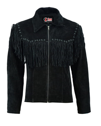 Mens Black Suede Cowboy Western Leather Jacket With Fringe - Lesa Collection