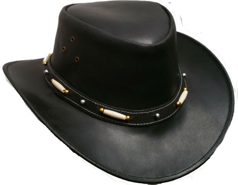 Kids Australian Style Leather Western Hat Cowboy boy/girl Bush Hat XS - Lesa Collection