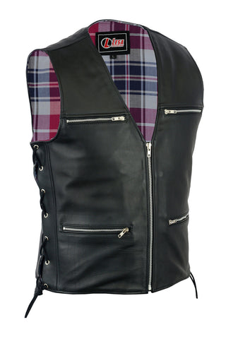 New Mens Biker Motorcycle Real Leather Waistcoat/Vest - Lesa Collection