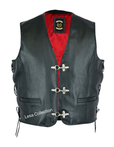 Leather Mens Fish Hook Buckle Biker Vest Sides Laces - Lesa Collection